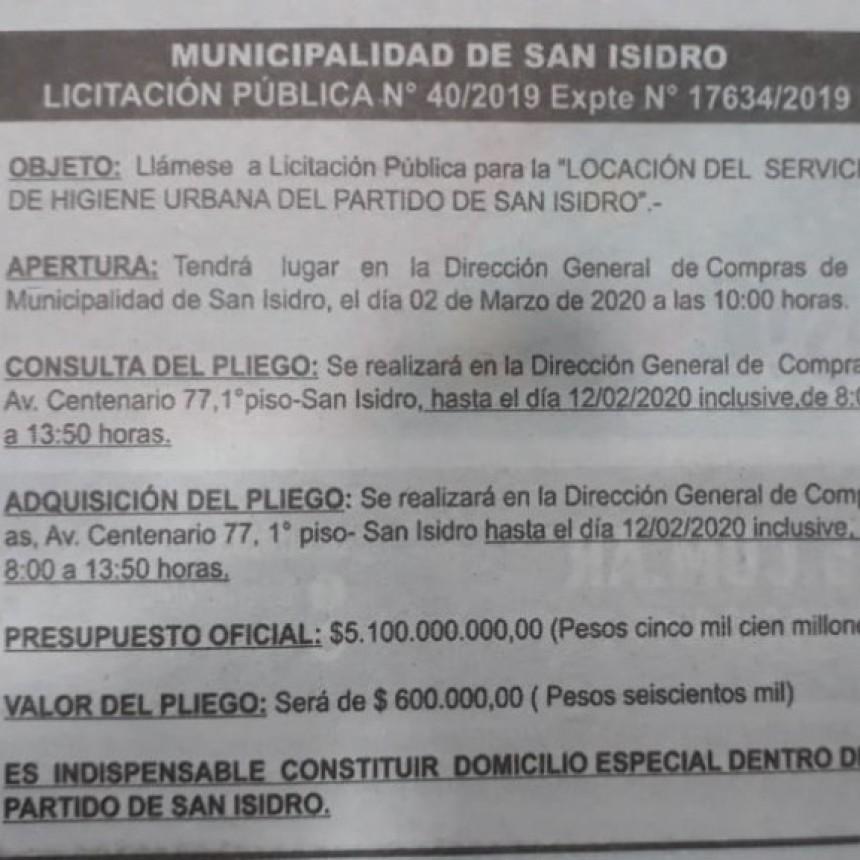 LUEGO DE 20 AÑOS SAN ISIDRO LICITA LA RECOLECCIÓN DE BASURA