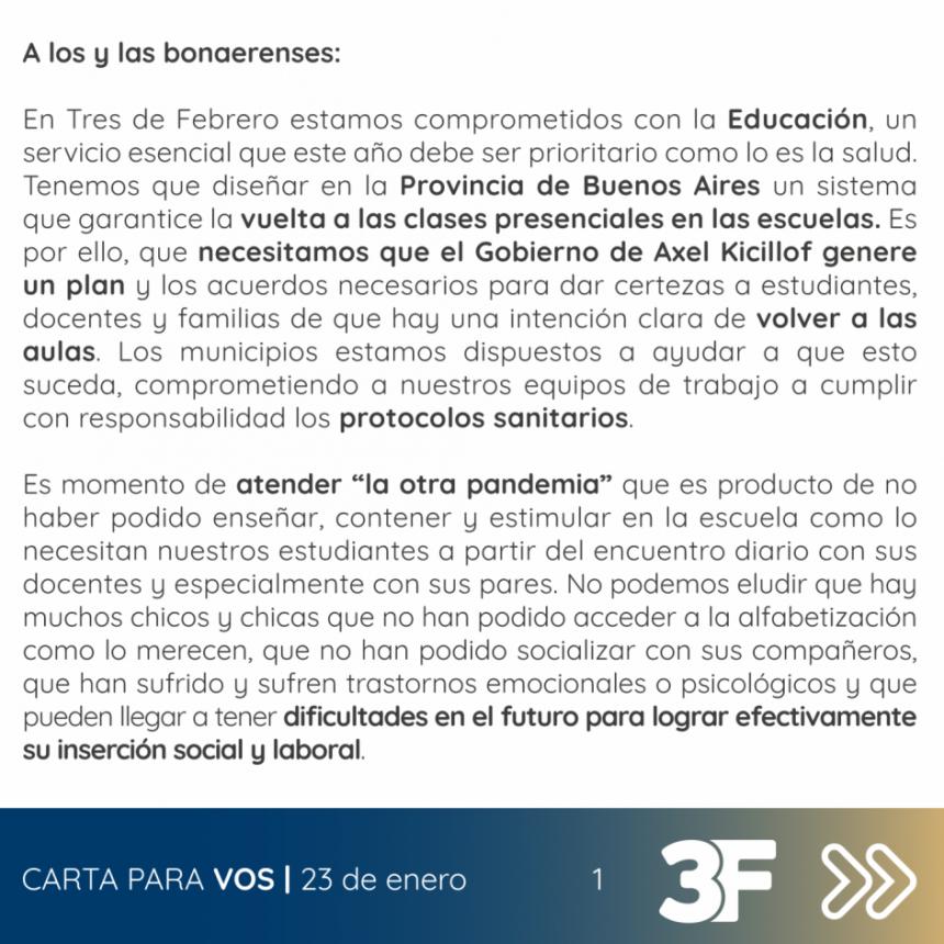 DIEGO VALENZUELA QUIERE INSTALARSE EN LA AGENDA NACIONAL CON UNA CARTA A LOS BONAERENSES
