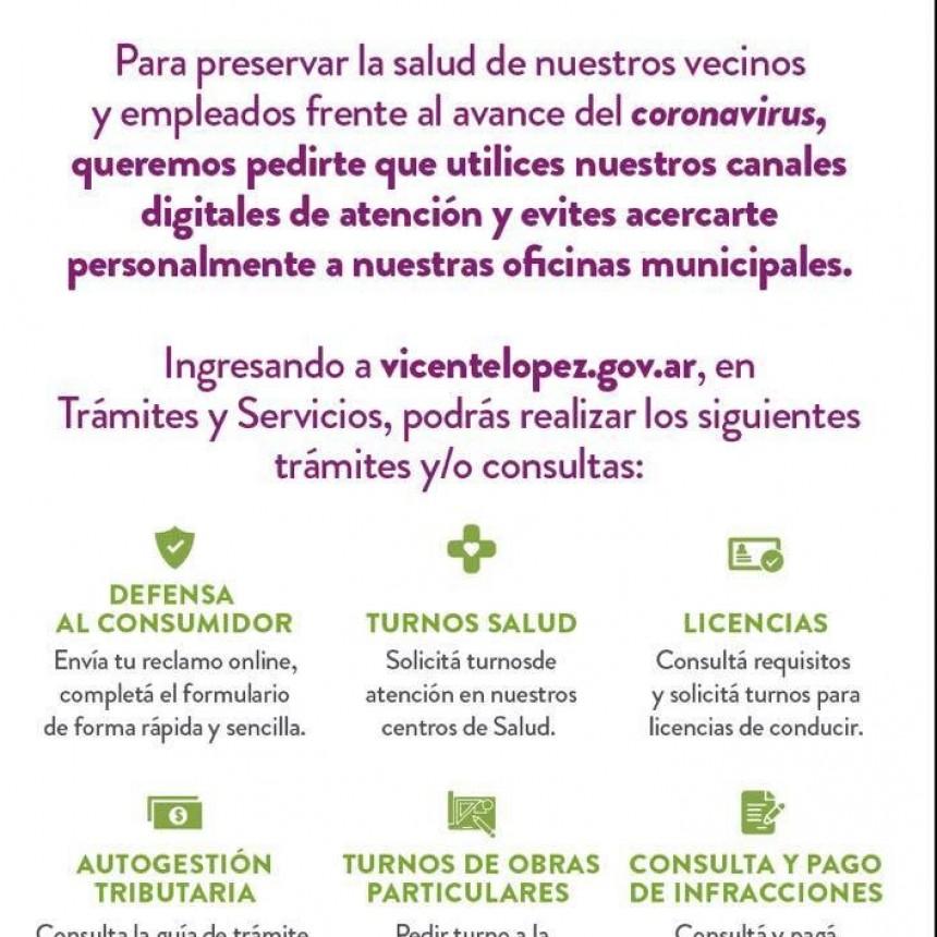 LA MUNICIPALIDAD DE VICENTE LOPEZ RECOMIENDA UTILIZAR SUS CANALES DIGITALES PARA REALIZAR TRAMITES