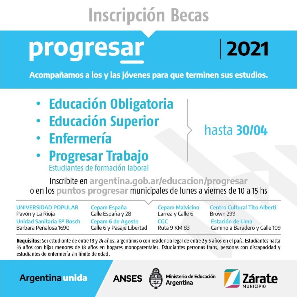 PROGRESAR 2021: EL MUNICIPIO DE ZÁRATE INFORMA SOBRE LOS PUNTOS DE AUTOGESTIÓN (ASISTENCIA DE INSCRIPCIÓN), PARA EL ACCESO A LAS BECAS DEL PROGRAMA NACIONAL.