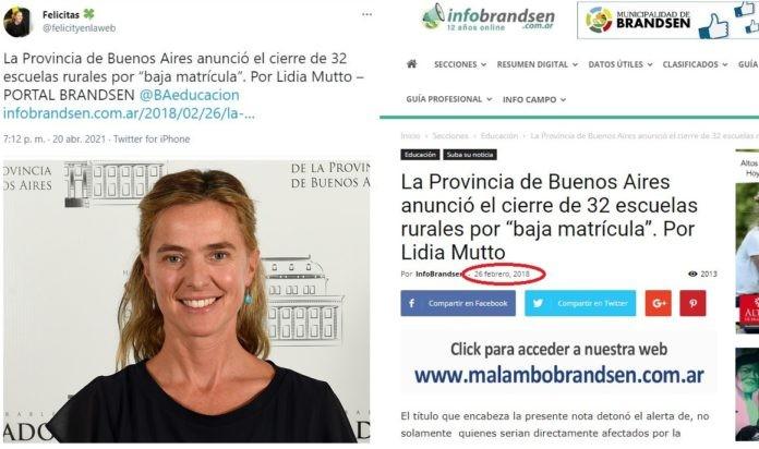 SENADORA CRITICÓ A KICILLOF POR EL CIERRE DE ESCUELAS CON UNA NOTICIA DE 2018