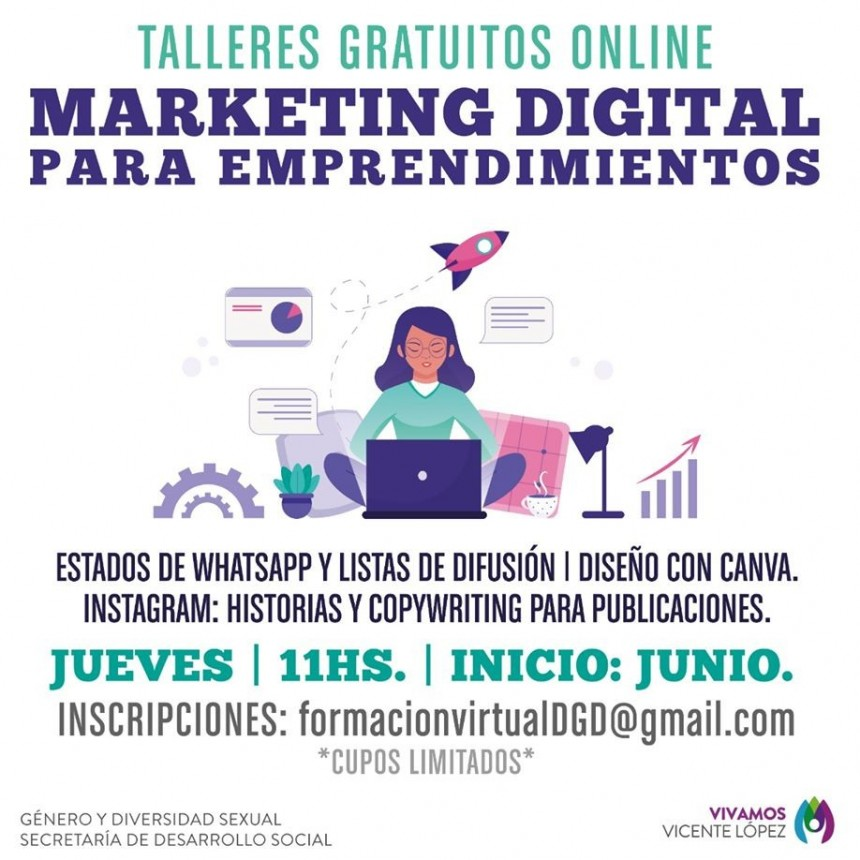 LA MUNICIPALIDAD DE VICENTE LOPEZ BRINDA UN TALLER ONLINE DE MARKETING DIGITAL PARA EMPRENDIMIENTOS