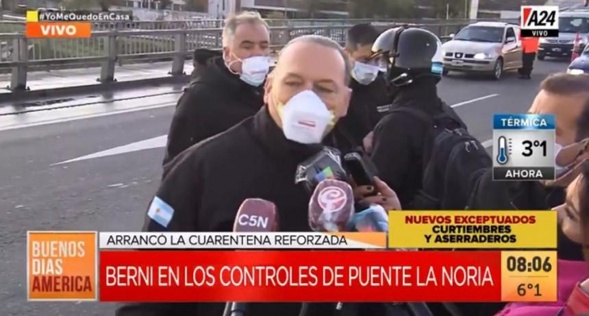 BERNI TUVO UNA MAÑANA DE FURIA EN EL OPERATIVO DE LA POLICÍA FEDERAL EN PUENTE LA NORIA.