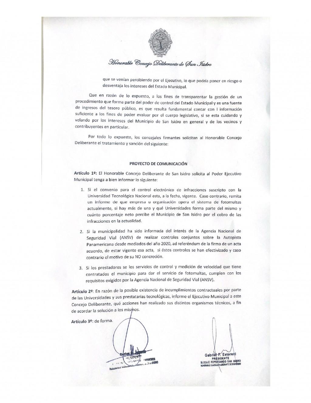 EN SAN ISIDRO LOS CONCEJALES VECINALISTAS PIDEN EXPLICACIONES AL EJECUTIVO POR LA EMPRESA DE FOTO MULTAS